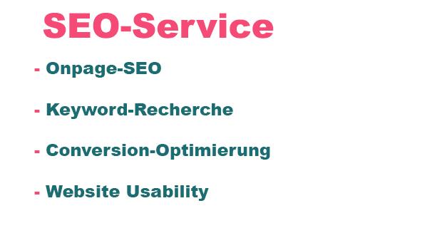 SEO-Service, Dienst für Suchmaschinenoptimierung, Onpage SEO, Keyword Recherche, Conversion Optimierung, Website Usability